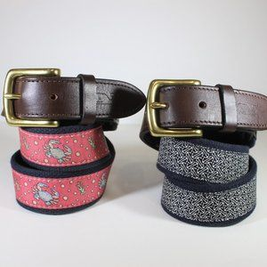 2x Vineyard Vines Size 30 Leather and Canvas Belts